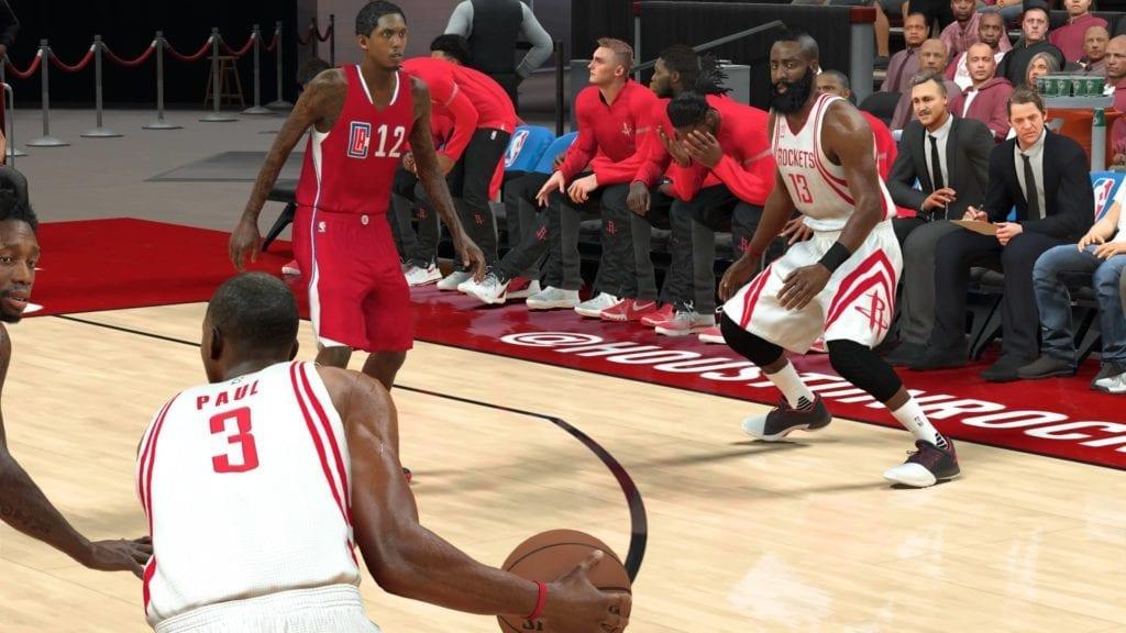James Harden and Chris Paul, Houston Rockets, NBA 2K17.