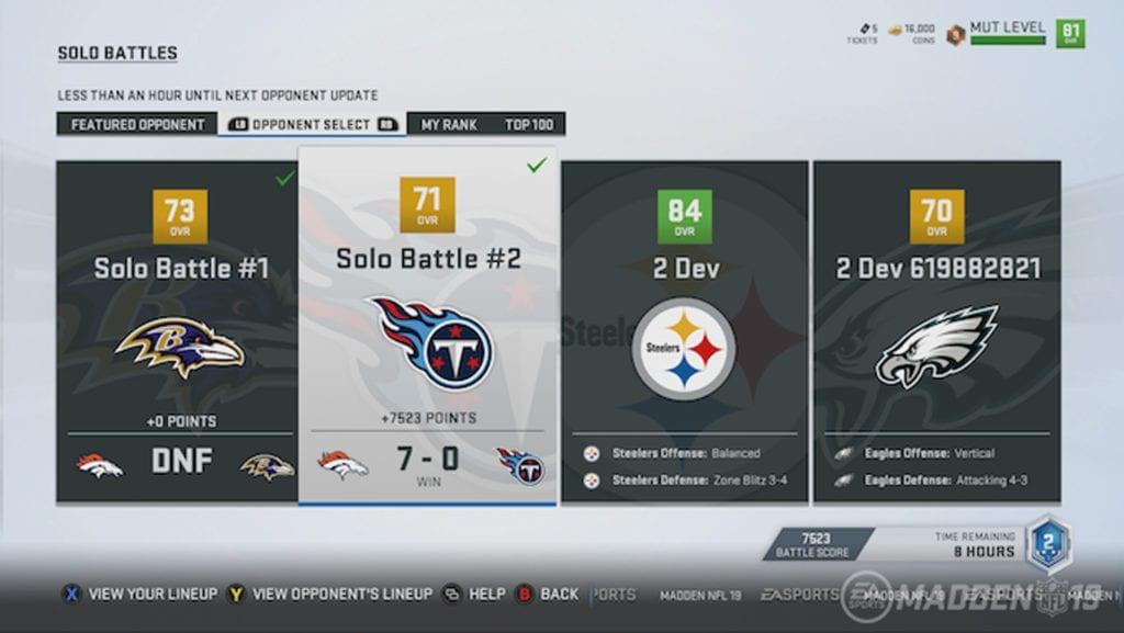 Madden NFL 19 Screenshot - MUT 6