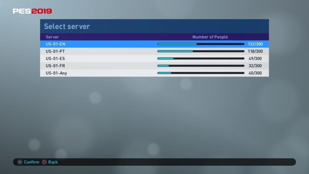 PES 2019 Server Screen