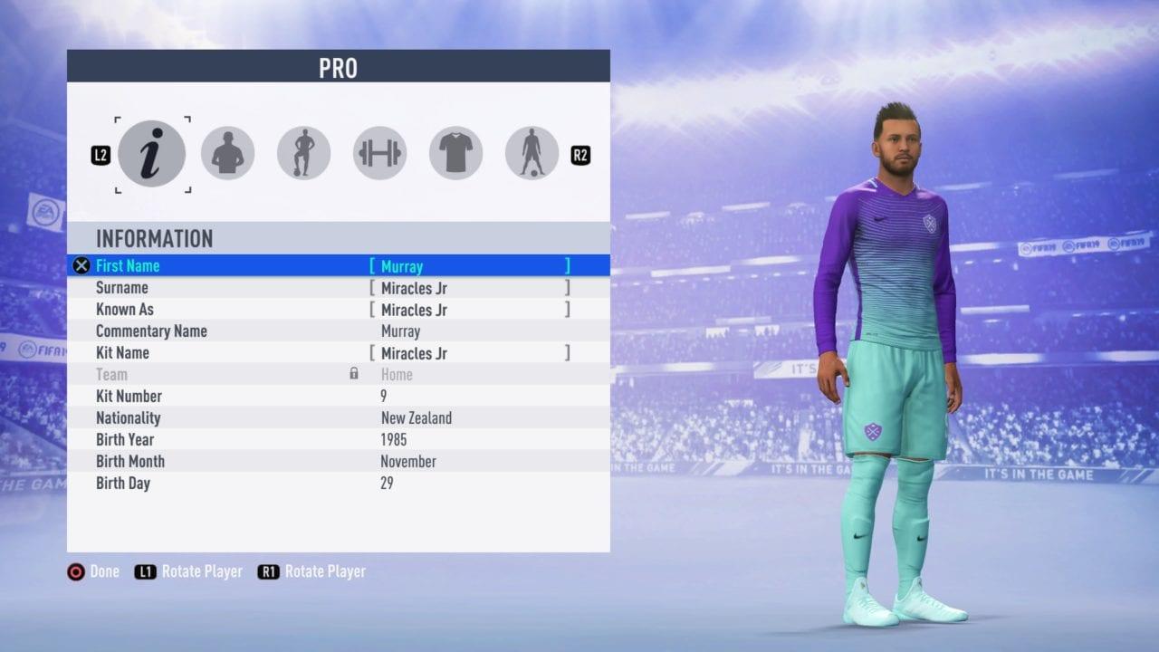 FIFA 19 Edit Player (In Menus)