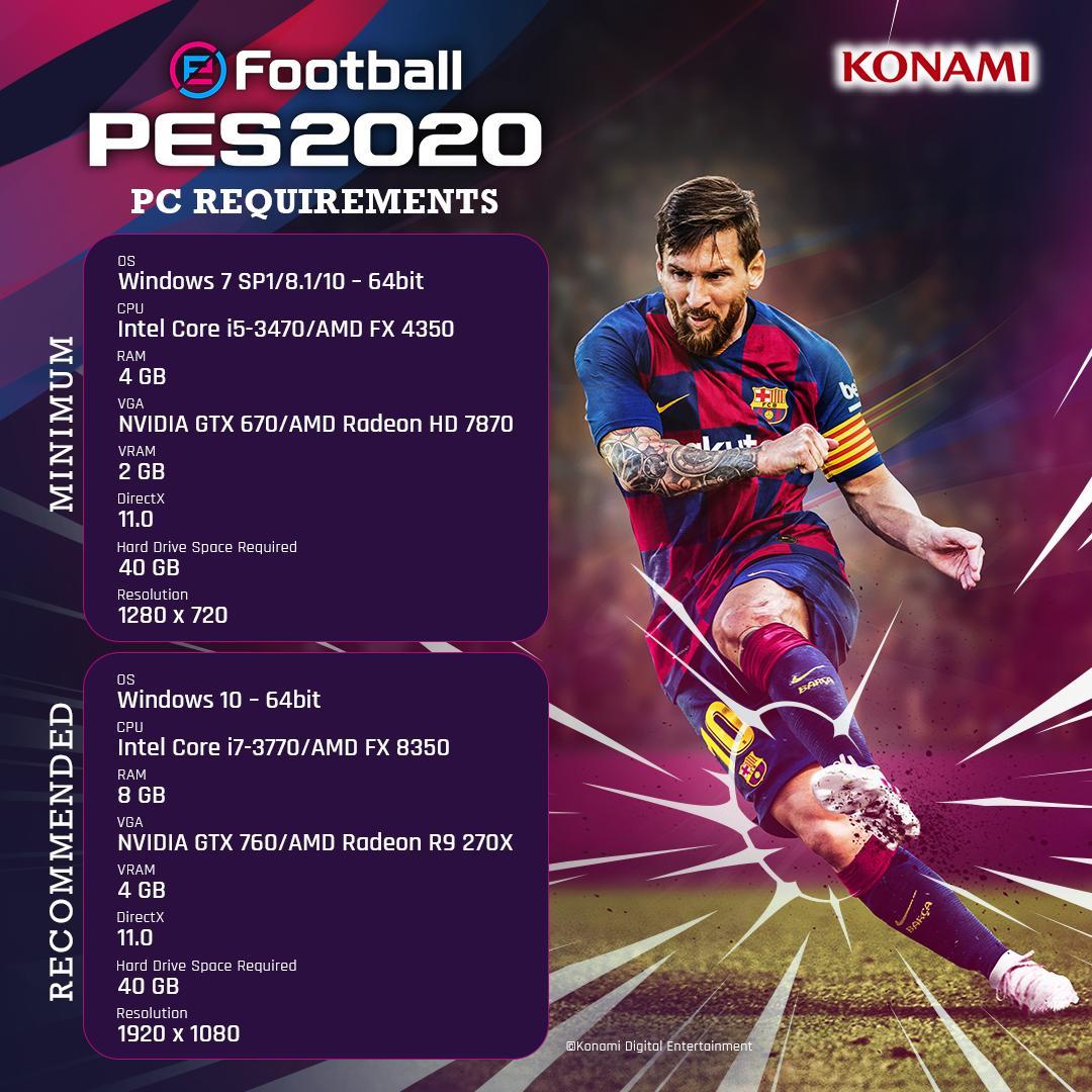 PES 2020 PC Sistem Gereksinimleri