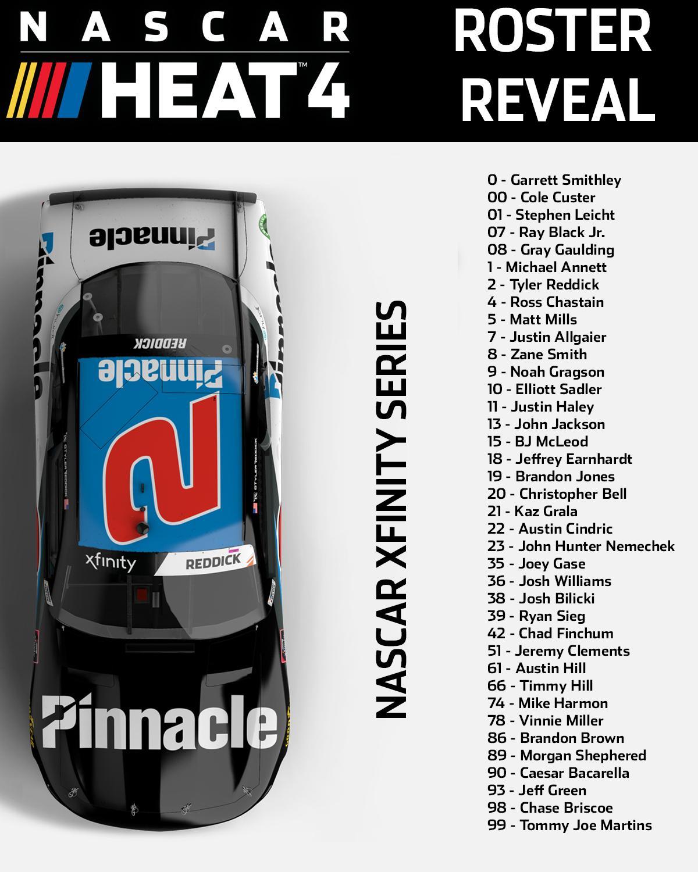 Nascar Heat 4 Roster Reveal Nascar Xfinity Series Drivers Operation Sports