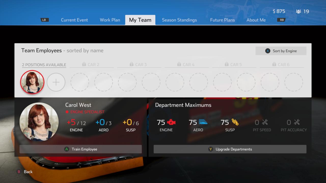 NASCAR Heat 4 Employee UI PM