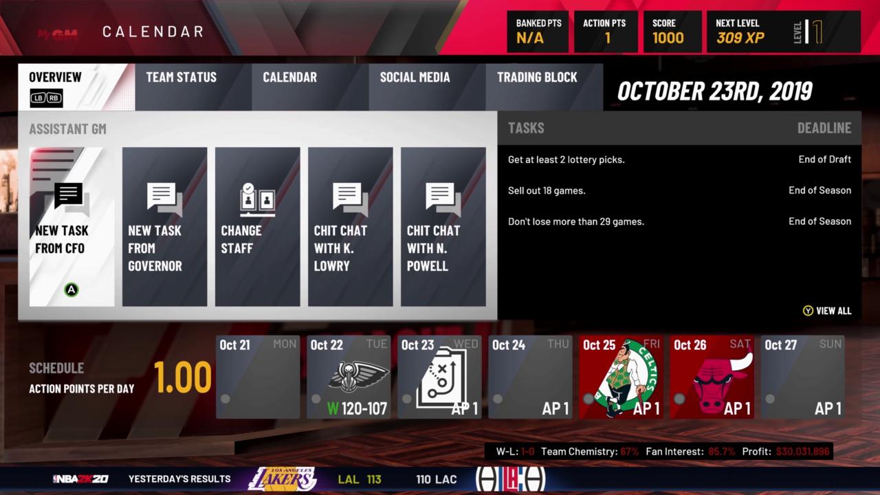 NBA2K20 MyGM Calendar