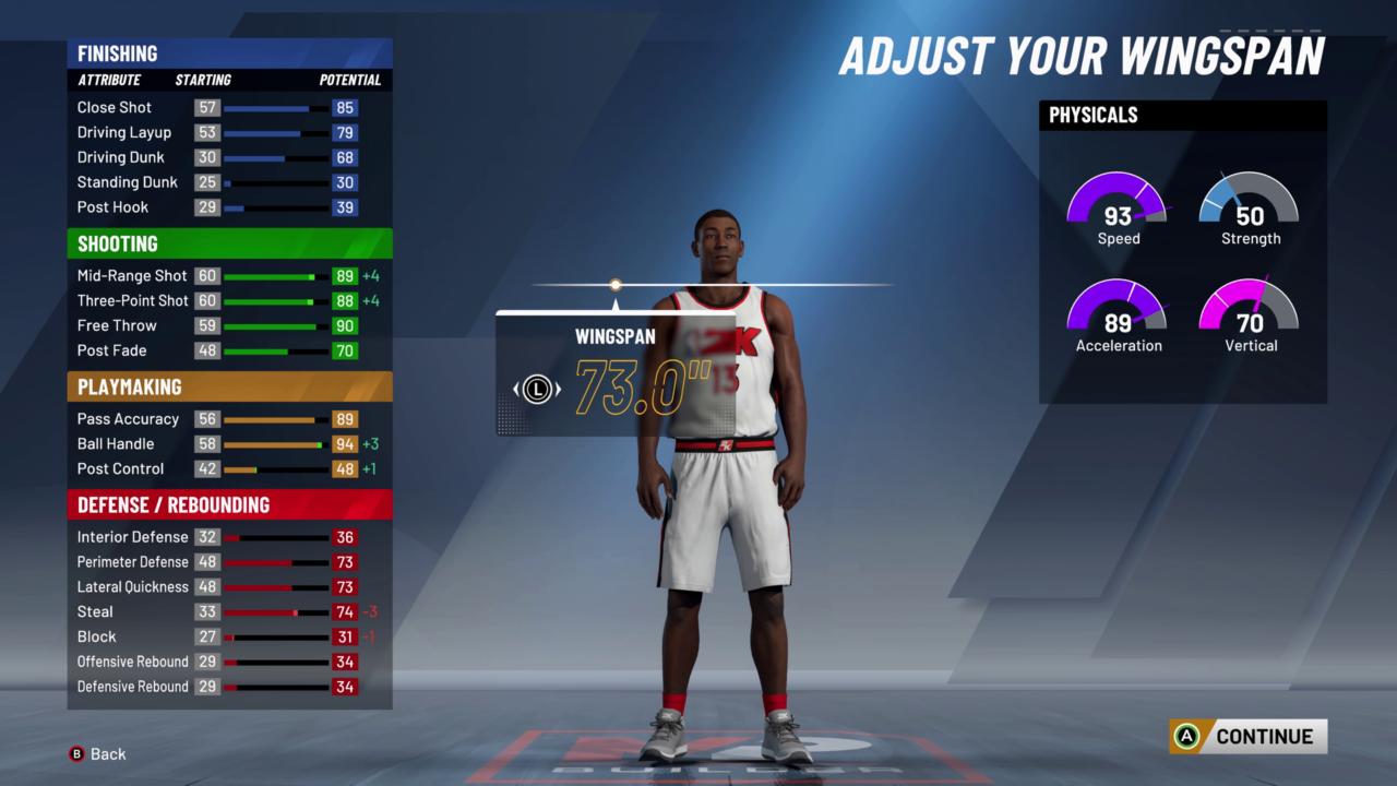 NBA2K20 MyPLAYER Buidler Wingspan