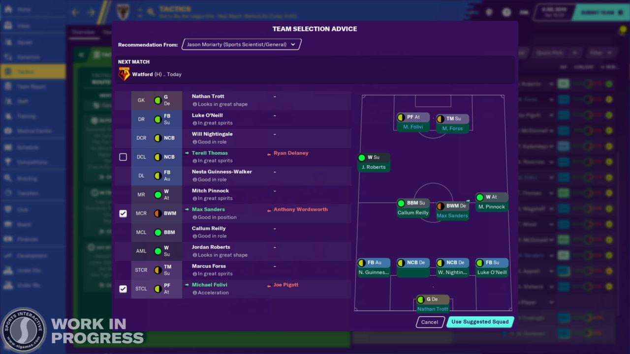 Backroom Staff - Team Selector Advice on Tactics Screen (3)
