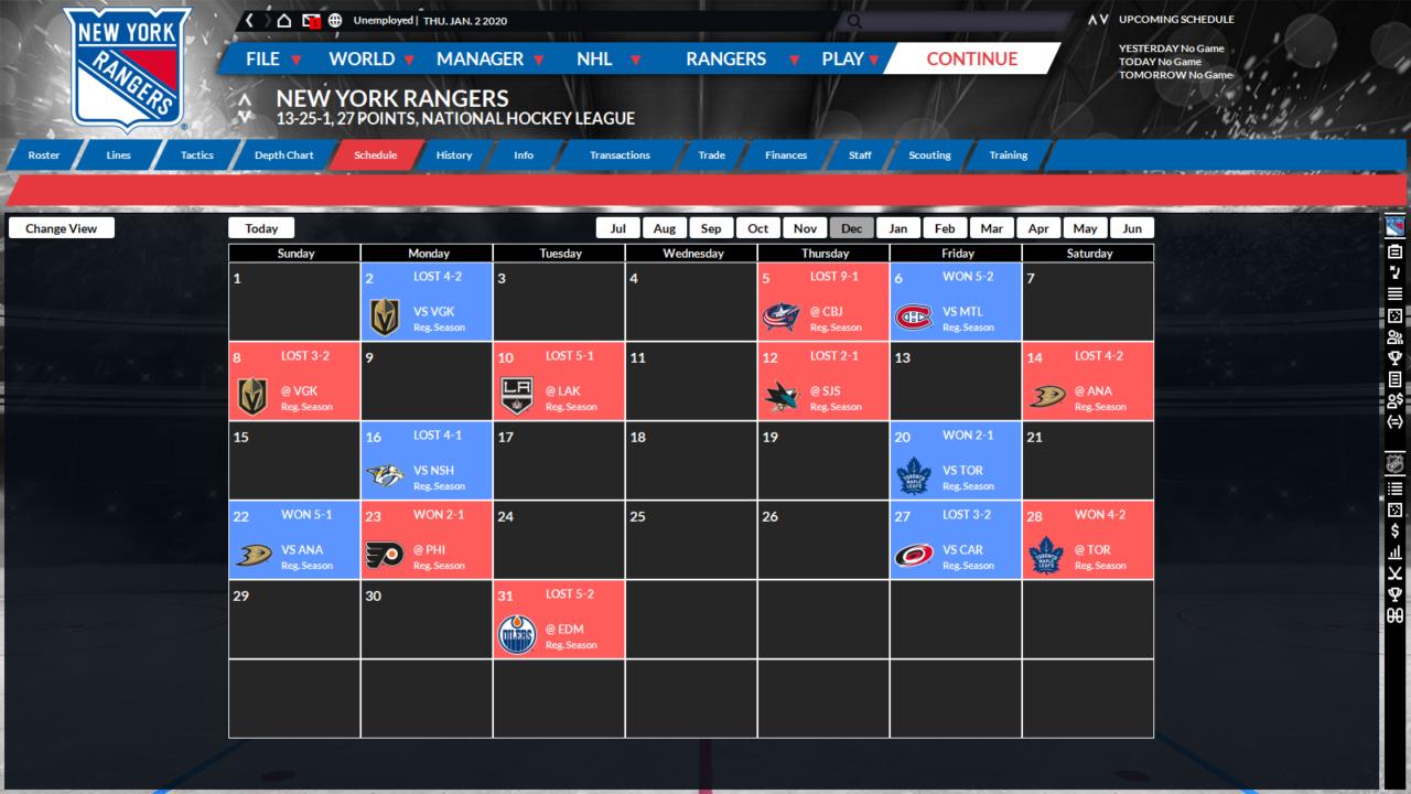new team schedule