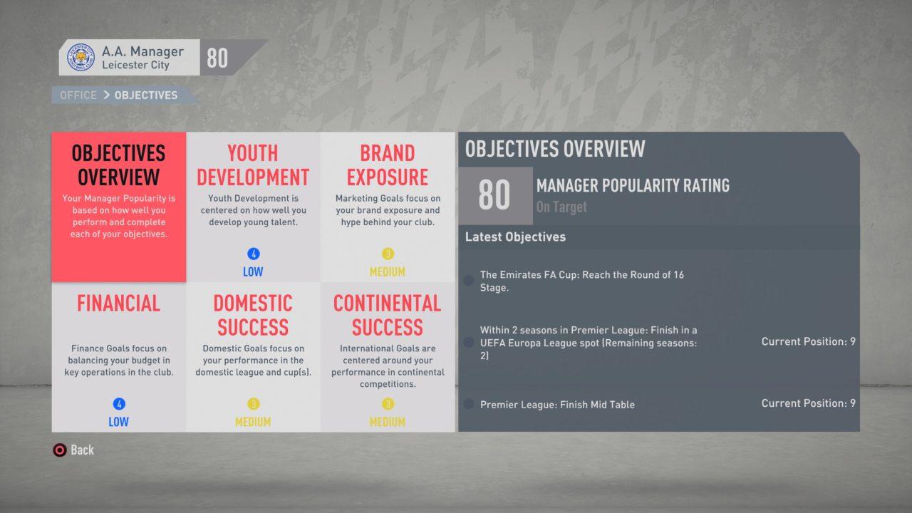 FIFA 20 Career (In Menus)