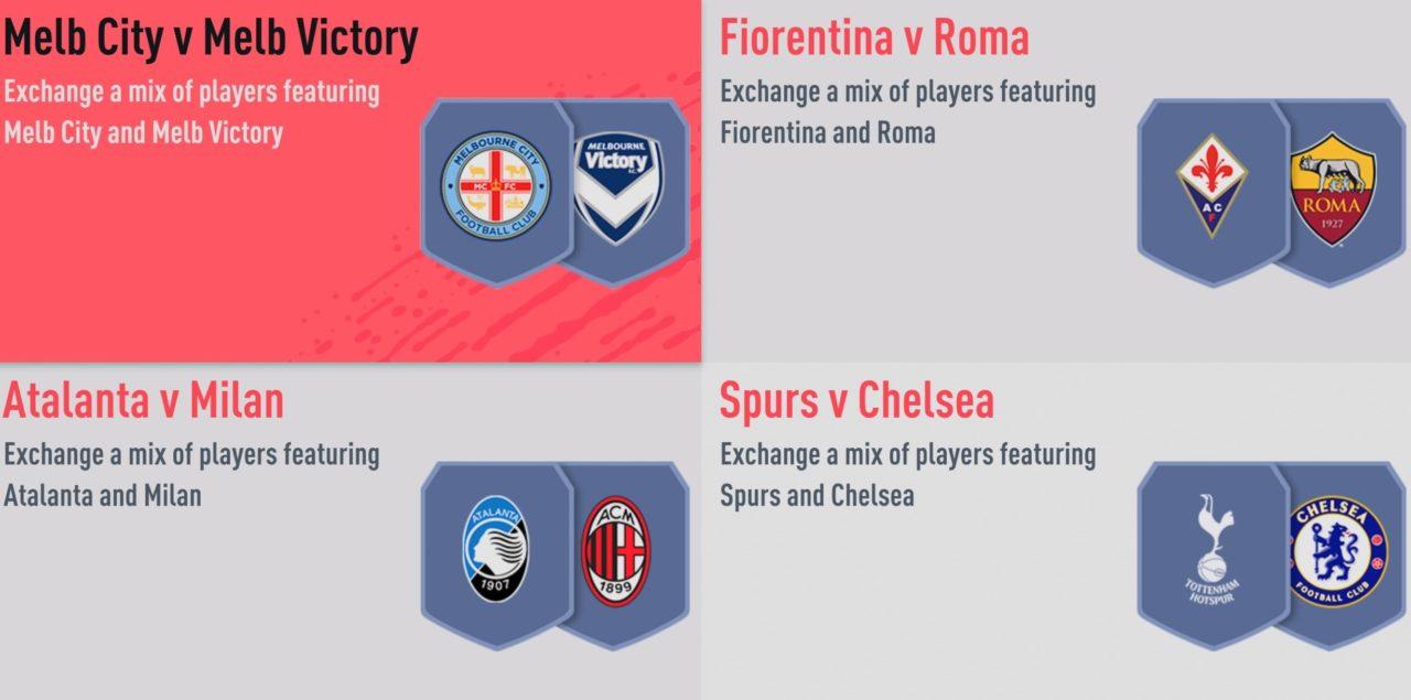 FIFA 20 FUT marquee matchups