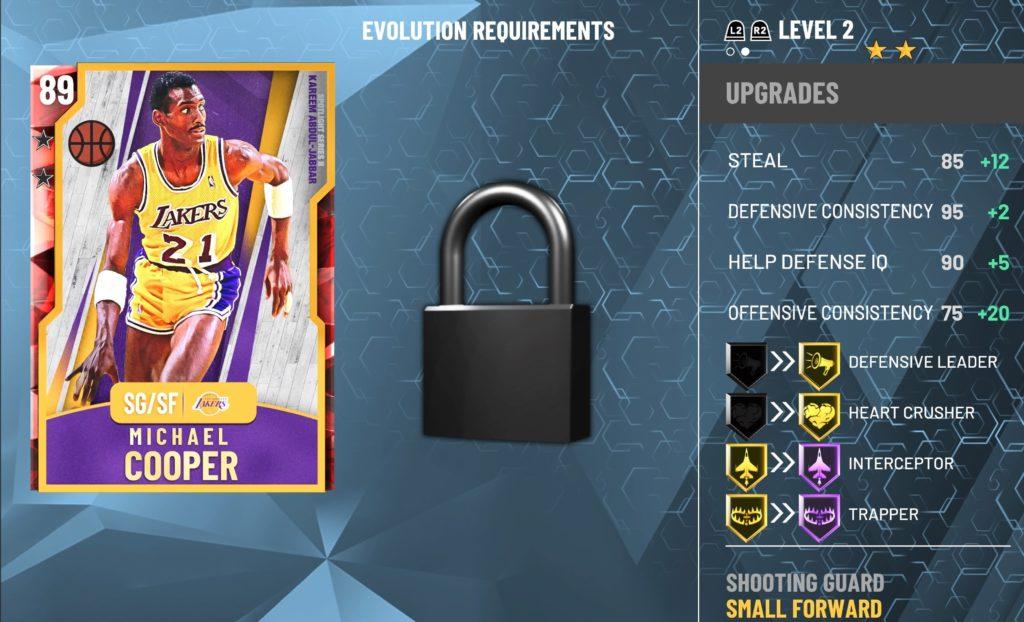 NBA 2K20 MyTeam michael cooper evolution