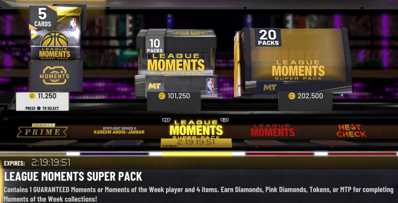 NBA 2K20 MyTeam Moments Super Packs