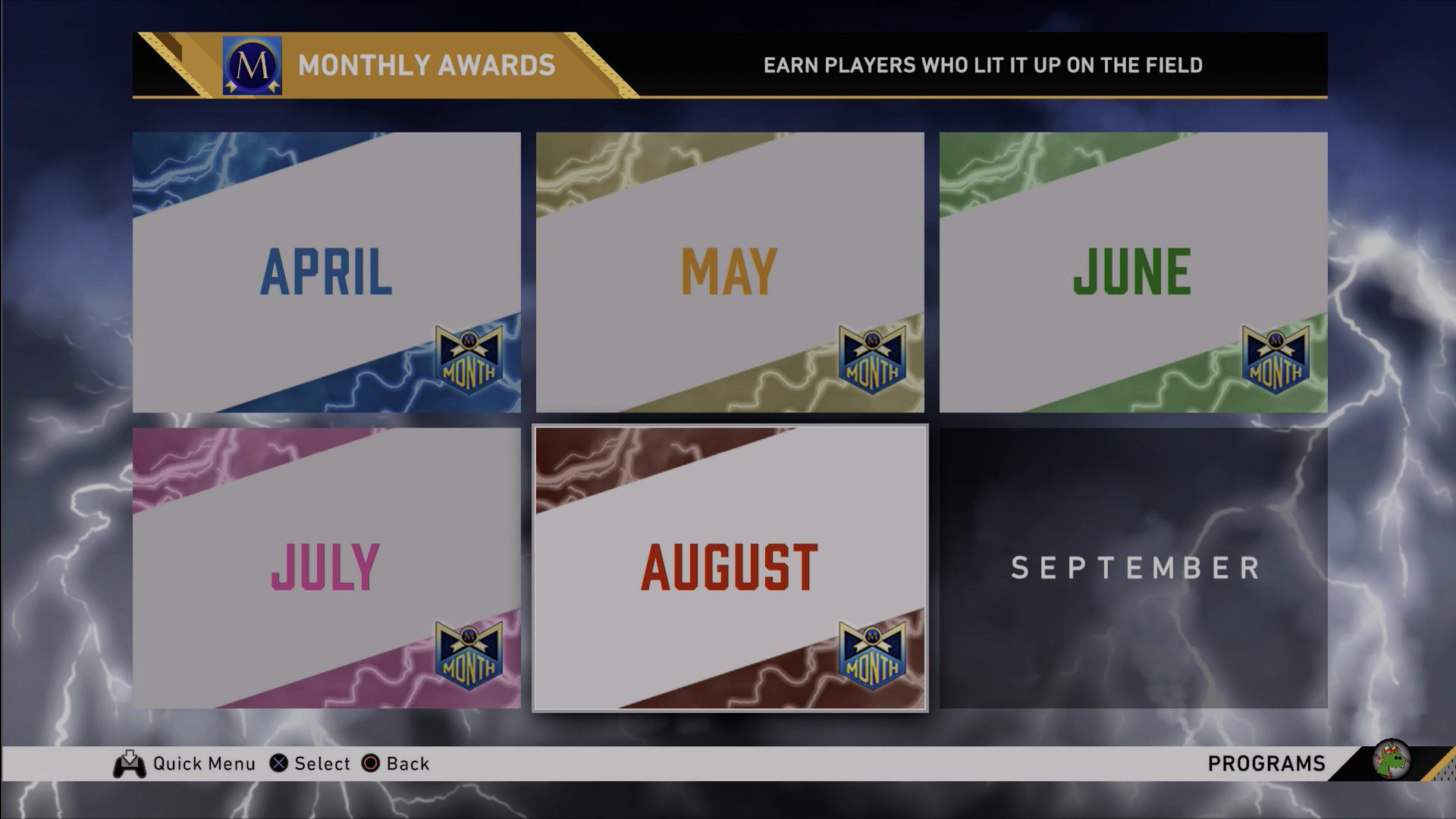 august monthly awards splash