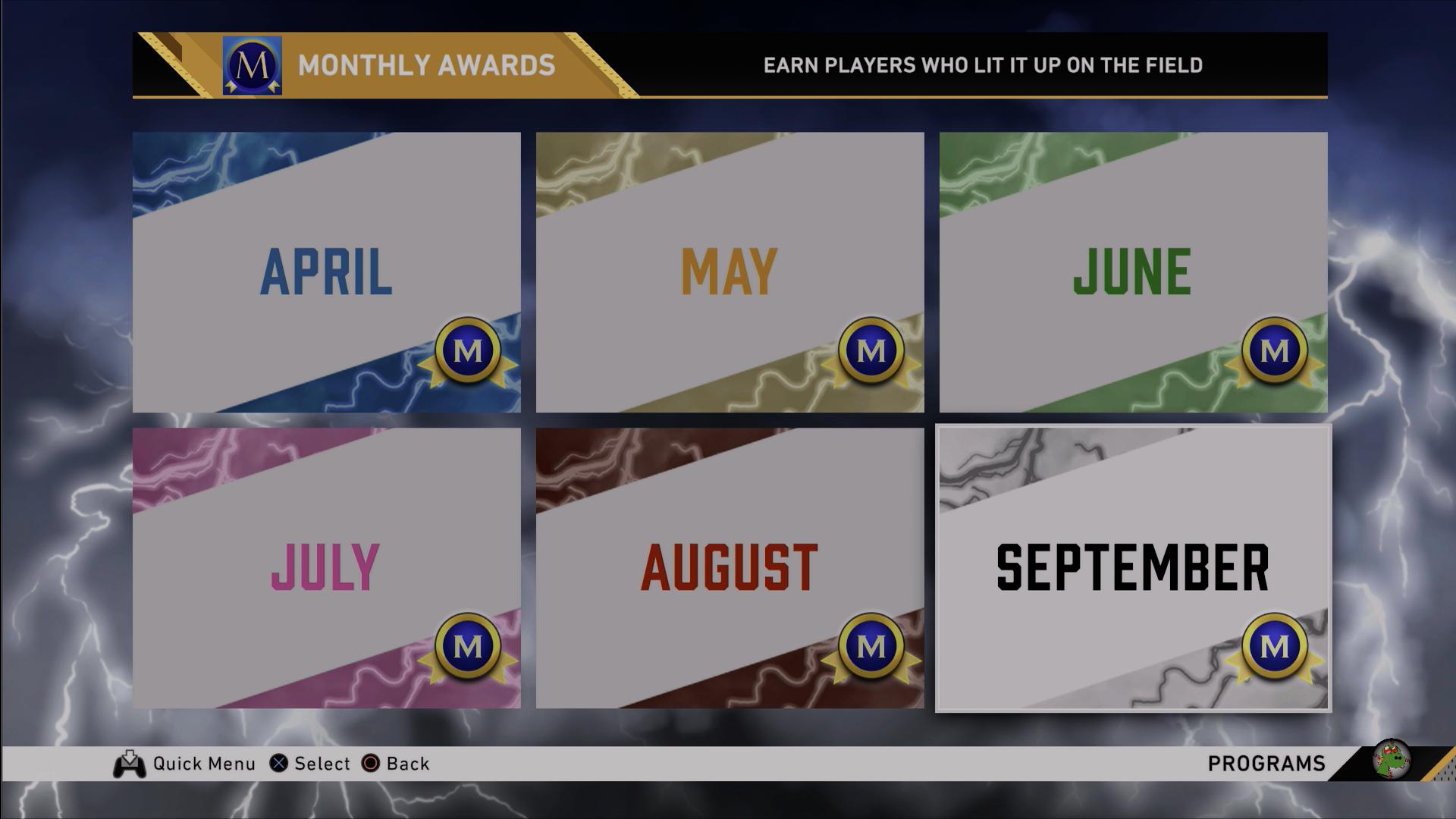 september monthly awards