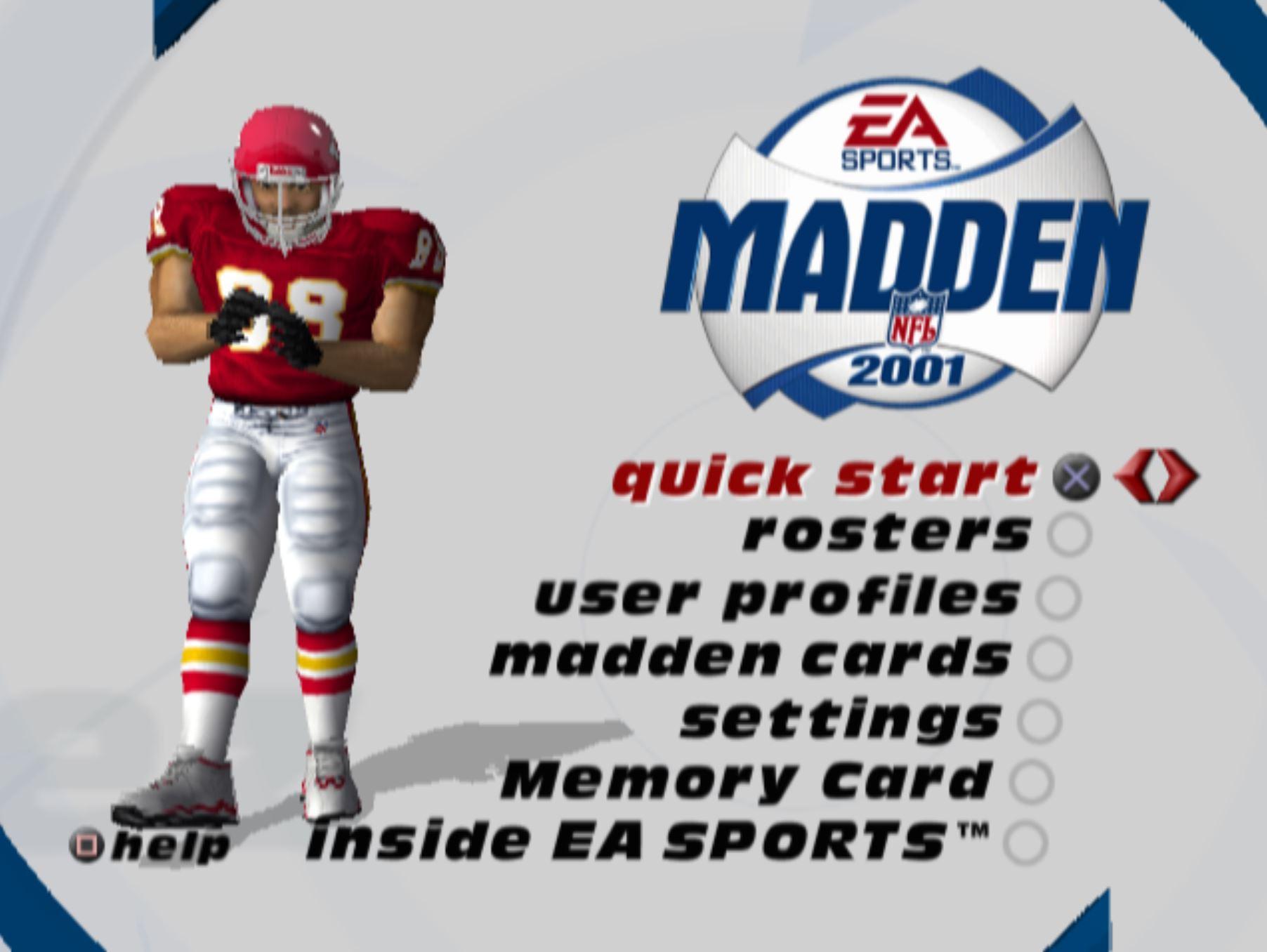 Madden 2001 main menu