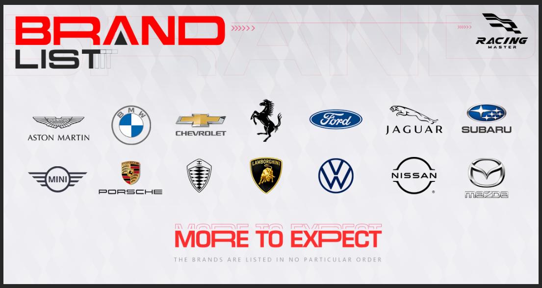 racing master car brands