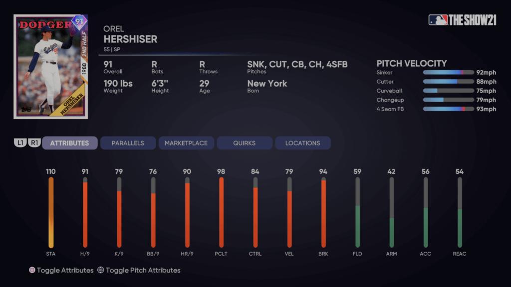 MLB The Show 21 - Headliners Set 4 - 2nd Half Heroes Orel Hershisher Ratings