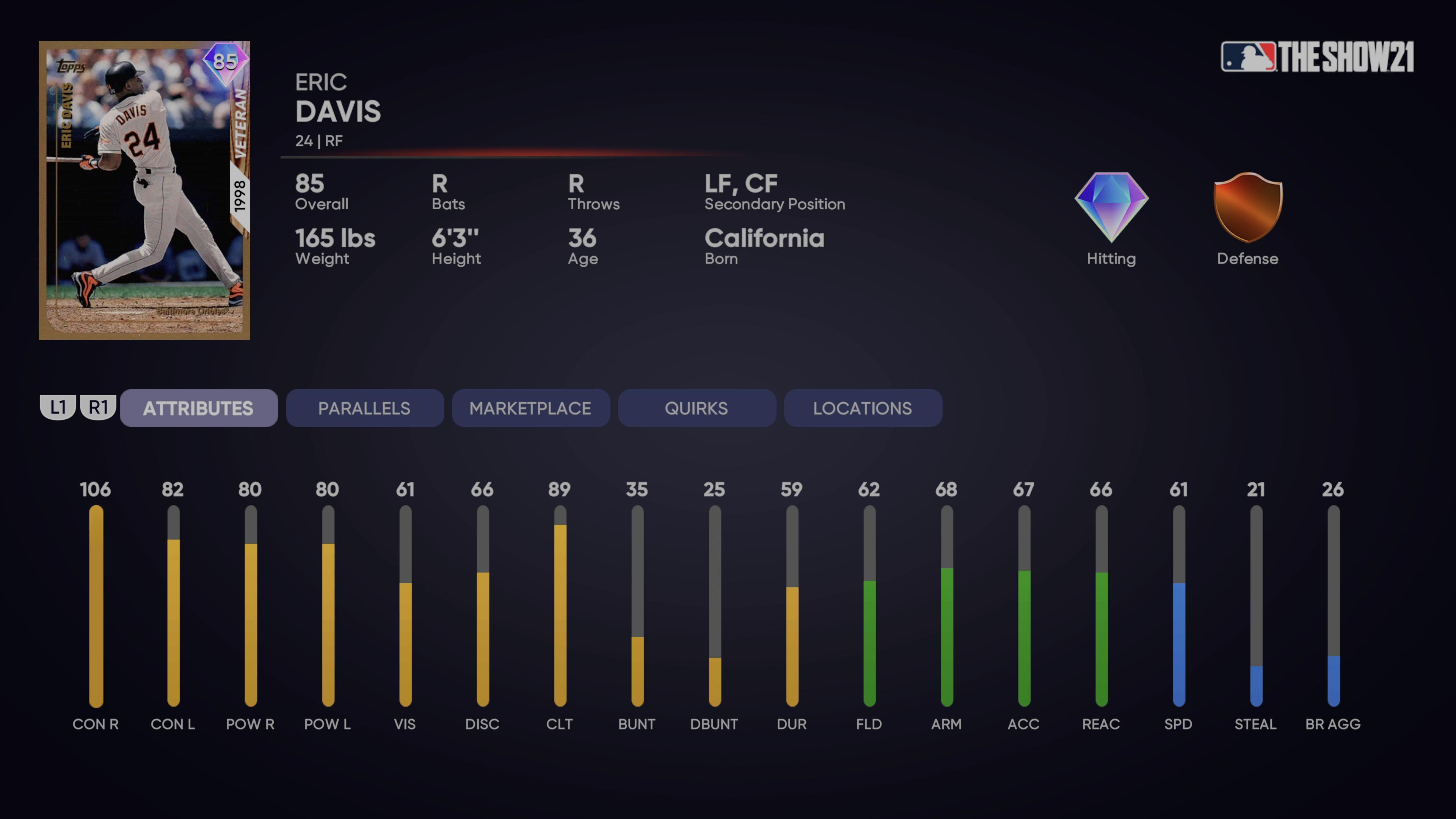 MLB The Show 21 - veteran eric davis attributes