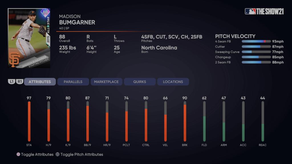 MLB The Show 21 evolution madison bumgarner
