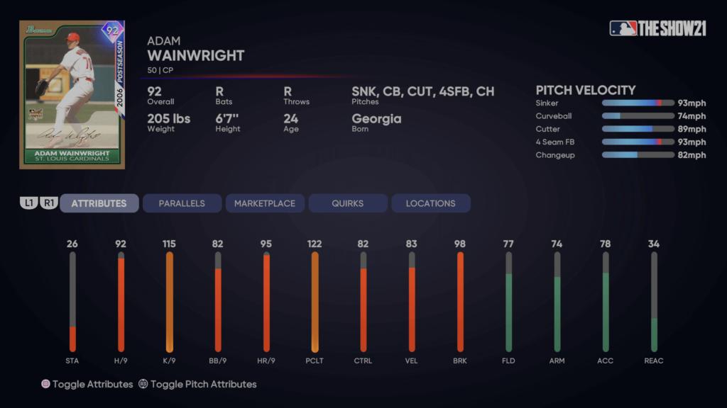 Headliners Set 6 Postseason Adam Wainwright MLB The Show 21