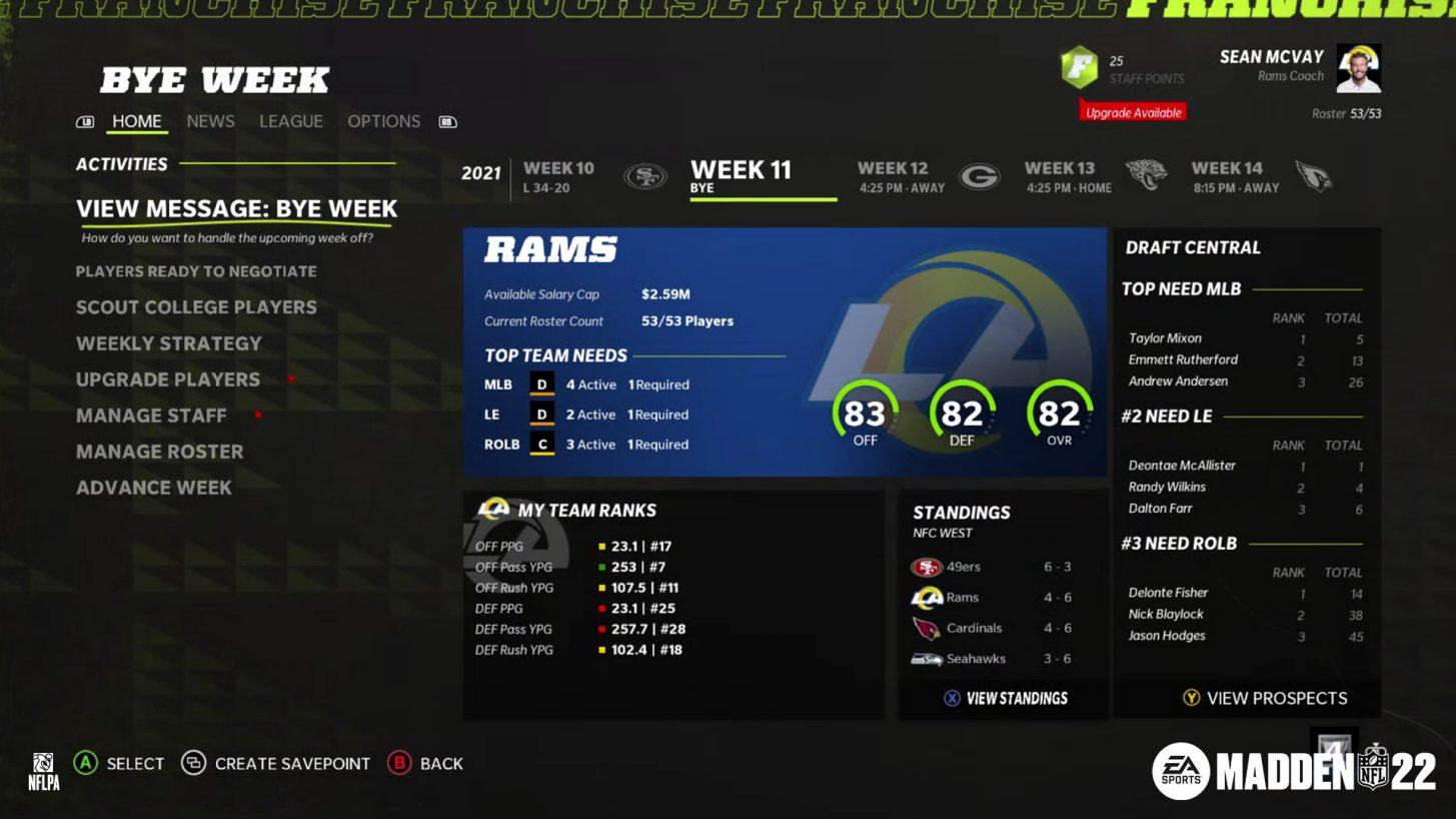 Madden NFL 22 Franchise Mode
