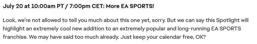 EA Sports blurb