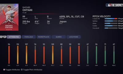 mlb the show 21 shohei ohtani pitcher ratings