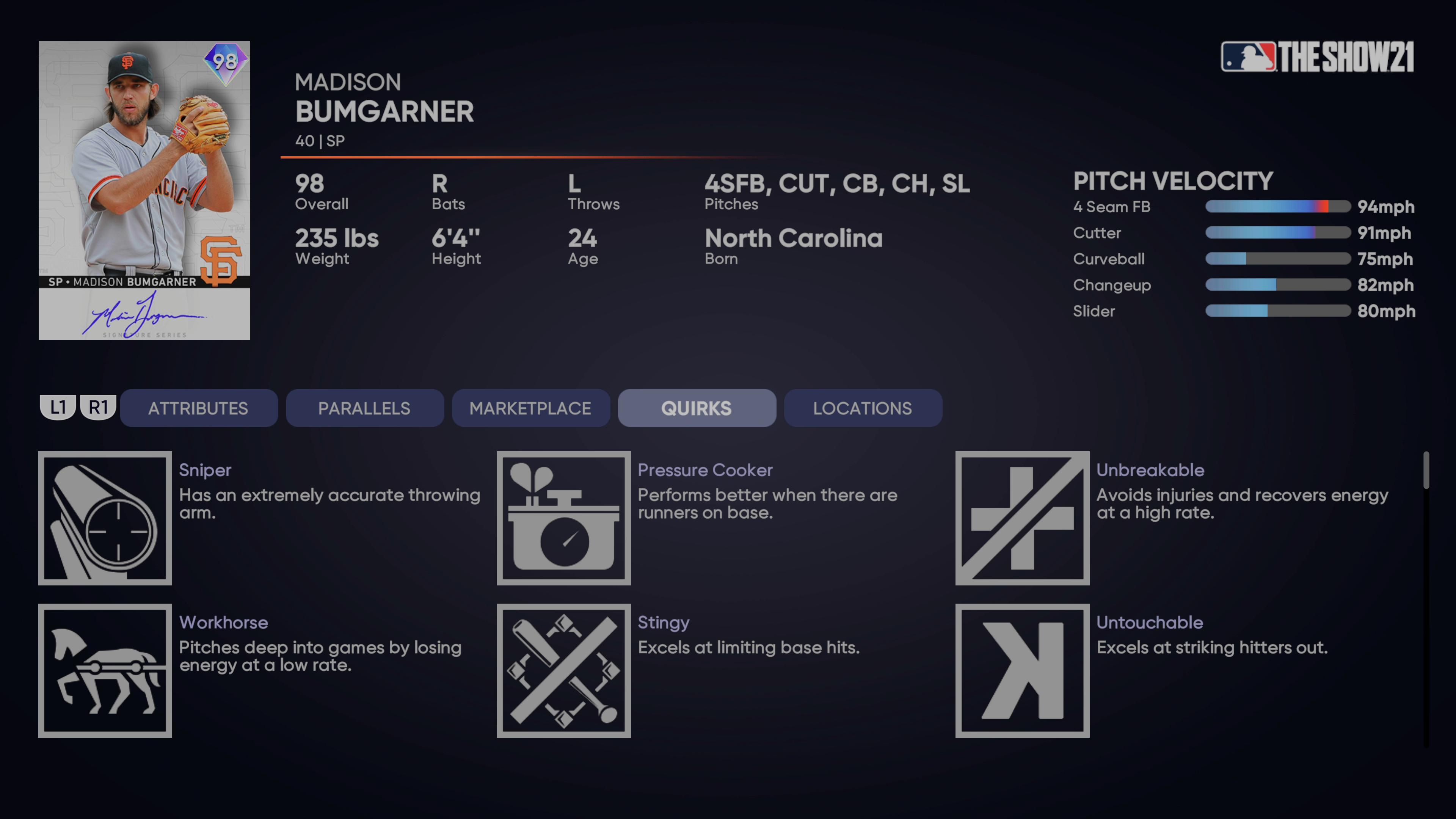 MLB The Show 21 - Headliners Set 32 Signature Series Madison Bumgarner_2021-08-24_15-26-11