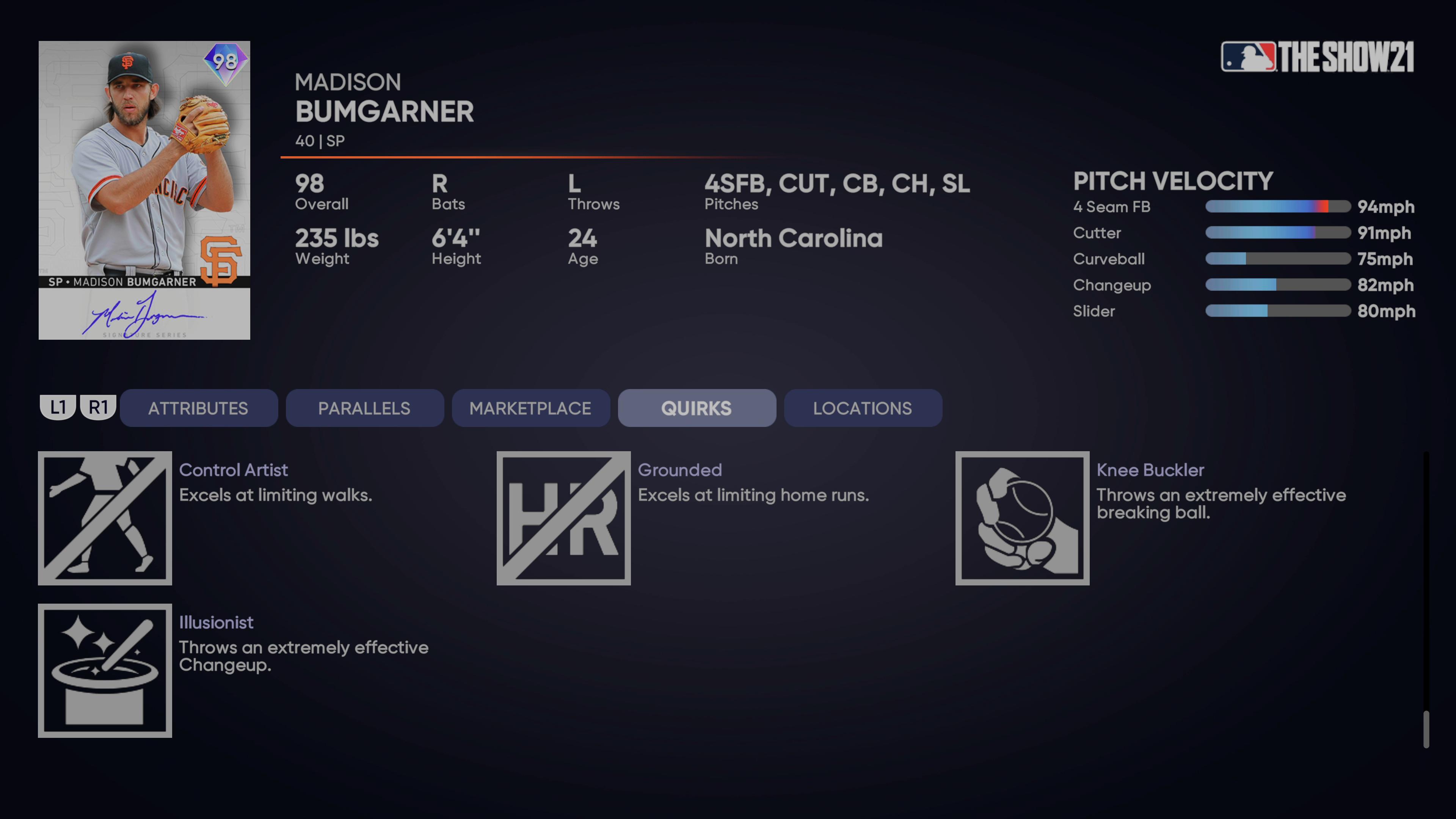 MLB The Show 21 - Headliners Set 32 Signature Series Madison Bumgarner_2021-08-24_15-26-14