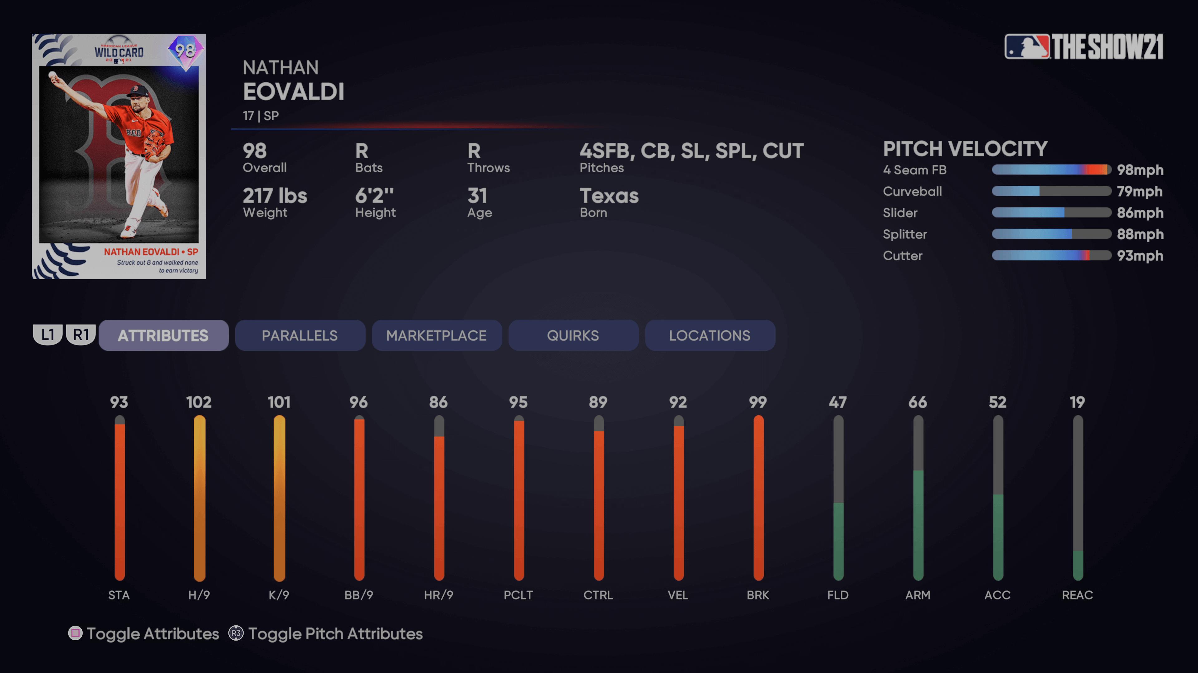 MLB The Show 21 - Wild Card Postseason Program Nathan Eovaldi